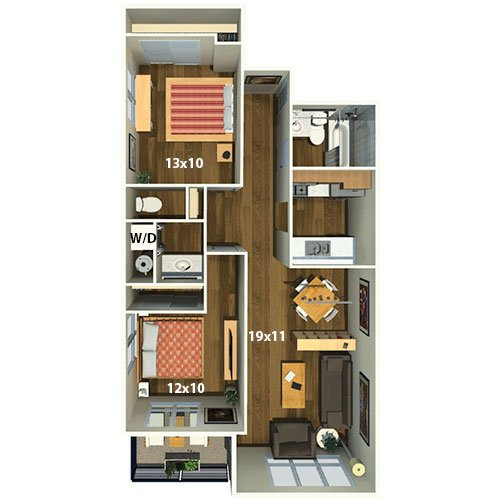 2900 On First Apartments   2 Bed/1.5 Bath   Clay Floor Plan